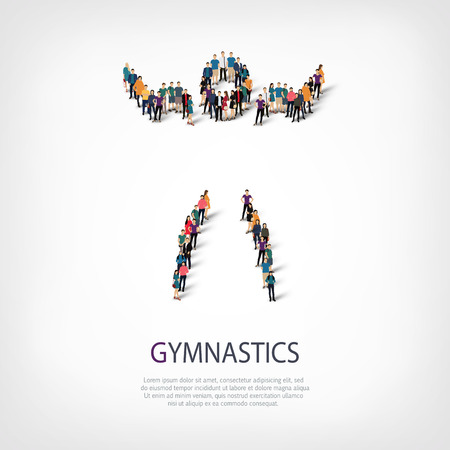 Isometric set of styles, people, sports, gymnastics, web infographics concept of a crowded square, flat 3d. Crowd point group forming a predetermined shape. Creative people.  illustration. Stock .3D illustration.