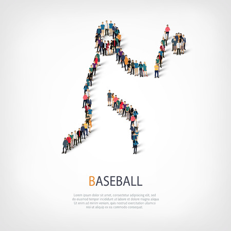 Isometric set of styles, people, sports, baseball , web infographics concept of a crowded square, flat 3d. Crowd point group forming a predetermined shape. Creative people.  illustration.
