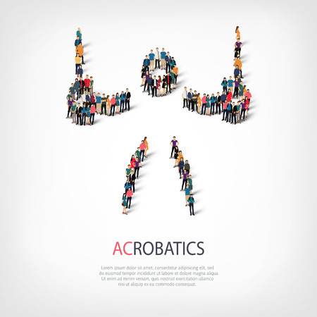 busy street: Isometric set of styles, people, sports, acrobatics , web infographics concept of a crowded square, flat 3d. Crowd point group forming a predetermined shape. Creative people.  illustration.