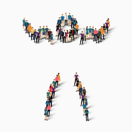 Isometric set of styles, people, sports, gymnastics, web infographics concept of a crowded square, flat 3d. Crowd point group forming a predetermined shape. Creative people.  illustration. Stock .3D illustration. White background . Isolated.