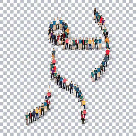 Isometric set of styles, people, sports, archery , web infographics concept of a crowded square, flat 3d. Crowd point group forming a predetermined shape. Creative people.  illustration. transparent background Stock Photo