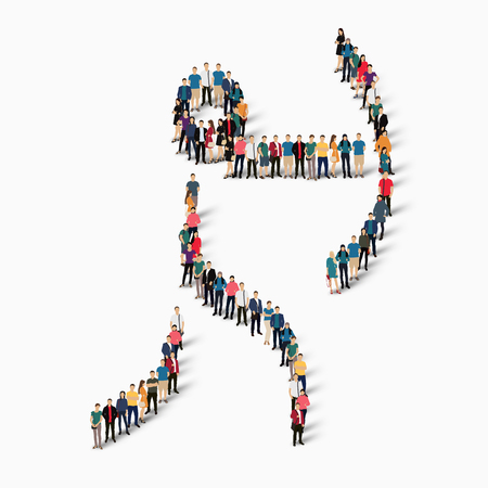 crowded: Isometric set of styles, people, sports, archery , web infographics concept of a crowded square, flat 3d. Crowd point group forming a predetermined shape. Creative people.  illustration. White background . Isolated.