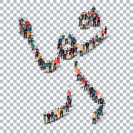 crowded: Isometric set of styles, people, sports, badminton , web infographics concept of a crowded square, flat 3d. Crowd point group forming a predetermined shape. Creative people.  illustration. transparent background Stock Photo