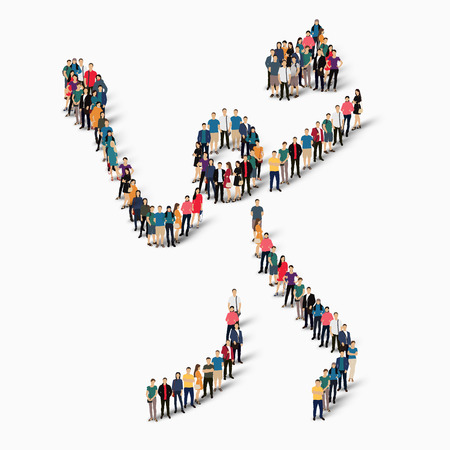 crowded: Isometric set of styles, people, sports, badminton , web infographics concept of a crowded square, flat 3d. Crowd point group forming a predetermined shape. Creative people.  illustration. White background . Isolated. Stock Photo