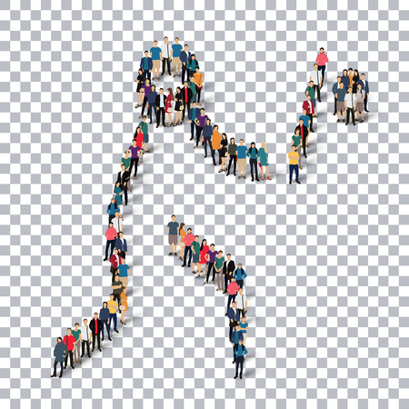 crowded: Isometric set of styles, people, sports, baseball , web infographics concept of a crowded square, flat 3d. Crowd point group forming a predetermined shape. Creative people.  illustration. transparent background