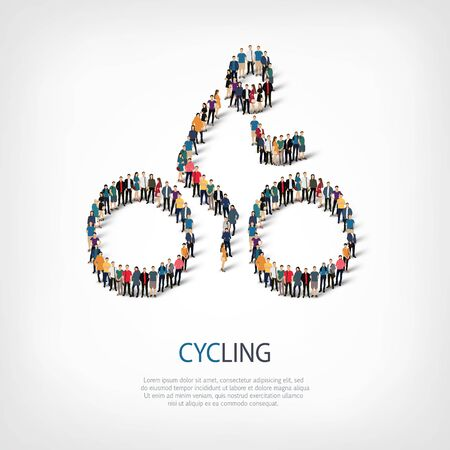 crowded: Isometric set of styles, people, sports, cycling , web infographics concept of a crowded square, flat 3d. Crowd point group forming a predetermined shape. Creative people.  illustration.