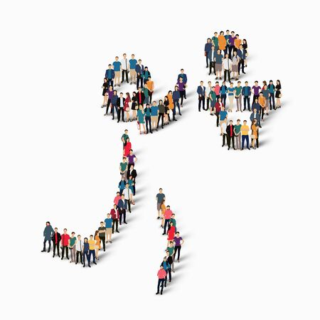 Isometric set of styles, people, sports, basketball , web infographics concept of a crowded square, flat 3d. Crowd point group forming a predetermined shape. Creative people.  illustration. White background . Isolated.