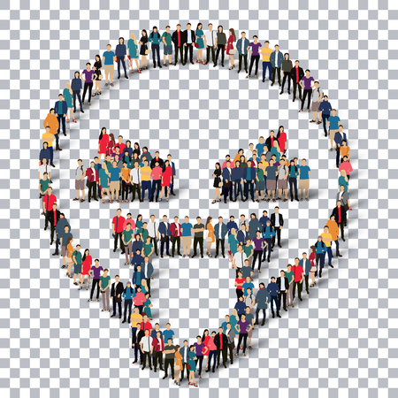 confusing: Isometric set of styles, man, emoticon , smiley ,web infographics concept  illustration of a crowded square, flat 3d. Crowd point group forming a predetermined shape. Creative people.Transparency grid - 3D illustration.