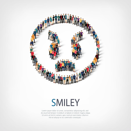 Isometric set of styles, man, emoticon , smiley ,web infographics concept  illustration of a crowded square, flat 3d. Crowd point group forming a predetermined shape. Creative people. 3D illustration.