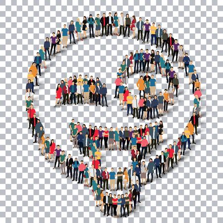 human tongue: Isometric set of styles, man, emoticon , smiley ,web infographics concept  illustration of a crowded square, flat 3d. Crowd point group forming a predetermined shape. Creative people.Transparency grid - 3D illustration.