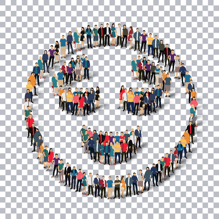 Isometric set of styles, man, emoticon , smiley ,web infographics concept  illustration of a crowded square, flat 3d. Crowd point group forming a predetermined shape. Creative people.Transparency grid - 3D illustration.
