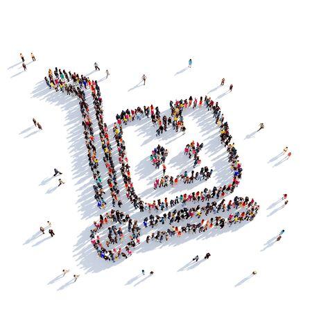 personas reunidas: Grande y creativa grupo de personas se reunieron en la forma de entrega de paquetería. Ilustración 3D, aislado contra un fondo blanco. 3D-prestación. Foto de archivo