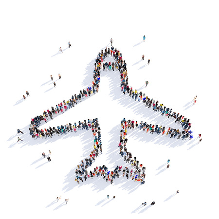 air freight: Large and creative group of people gathered together in the shape of aircraft, air freight. 3D illustration, isolated against a white background. 3D-rendering.