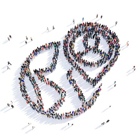 information point: Large and creative group of people gathered together in the shape of a map pointer . 3D illustration, isolated against a white background. 3D-rendering. Stock Photo