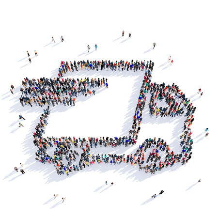 Large and creative group of people gathered together in the shape of postal delivery. 3D illustration, isolated against a white background. 3D-rendering.