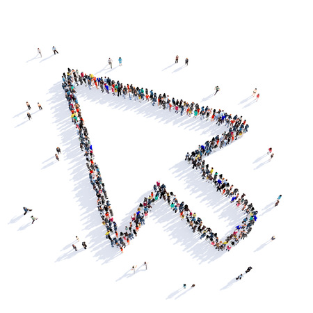 enable: Large and creative group of people gathered together in the form of a sign of the cursor , computer . 3D illustration, isolated against a white background. 3D-rendering.