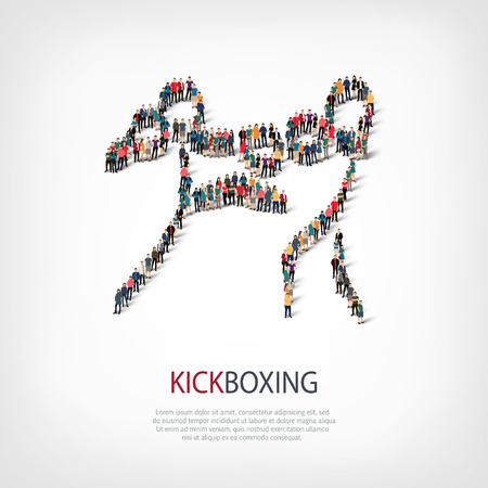 Isometric set of styles, people, sports, kickboxing , web infographics concept of a crowded square, flat 3d. Crowd point group forming a predetermined shape. Creative people. illustration.