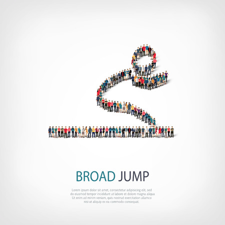 broad: Isometric set of styles, people, sports, broad jump , web infographics concept  illustration of a crowded square, flat 3d. Crowd point group forming a predetermined shape. Creative people.