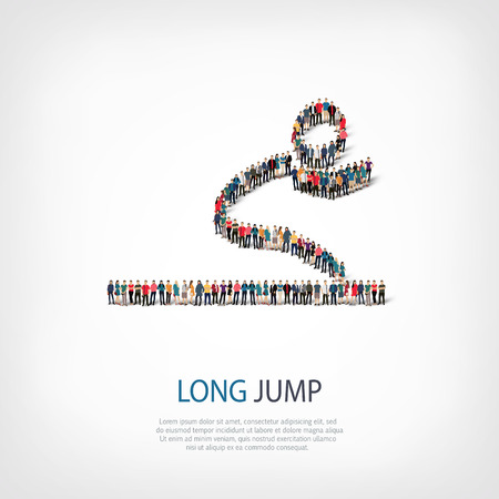 long jump: Isometric set of styles, people, sports, long jump , web infographics concept illustration of a crowded square, flat 3d. Crowd point group forming a predetermined shape. Creative people. Illustration