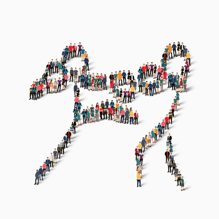 tough woman: Isometric set of styles, people, sports, kickboxing , web infographics concept of a crowded square, flat 3d. Crowd point group forming a predetermined shape. Creative people. illustration.