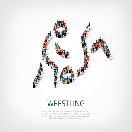 Isometric set of styles, people, sports, wrestling , web infographics concept illustration of a crowded square, flat 3d. Crowd point group forming a predetermined shape. Creative people. Illustration