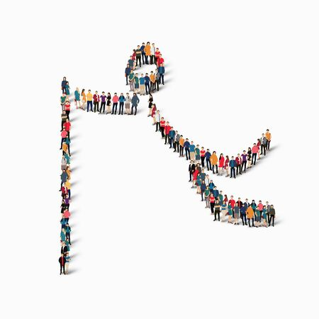 busy street: Isometric set of styles, people, sports, gymnastics, web infographics concept of a crowded square, flat 3d. Crowd point group forming a predetermined shape. Creative people. illustration. White background . Isolated.