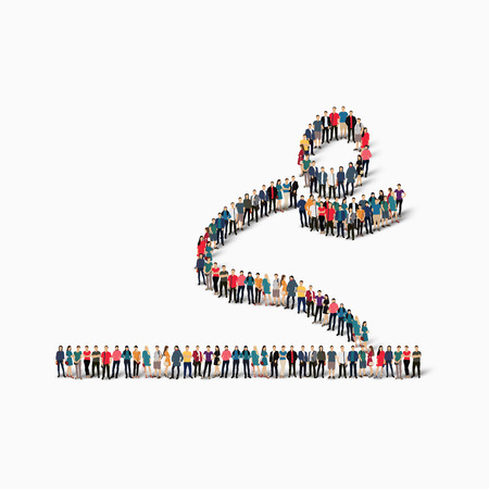 run off: Isometric set of styles, people, sports, long jump , web infographics concept illustration of a crowded square, flat 3d. Crowd point group forming a predetermined shape. Creative people. Illustration