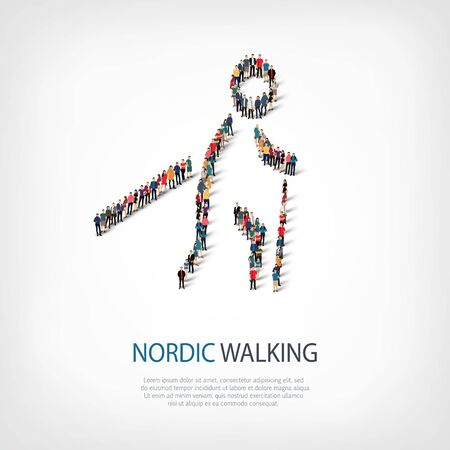 crowded: Isometric set of styles, people, sports, nordic walking , web infographics concept  illustration of a crowded square, flat 3d. Crowd point group forming a predetermined shape. Creative people.