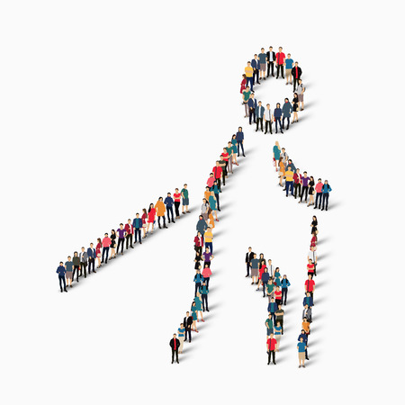 busy street: Isometric set of styles, people, sports, nordic walking , web infographics concept illustration of a crowded square, flat 3d. Crowd point group forming a predetermined shape. Creative people.