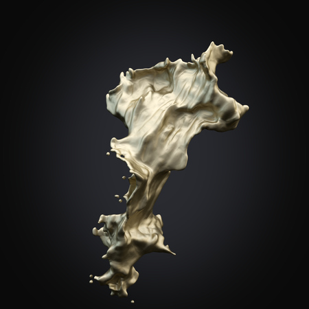 Isolated splash of gold on a black rendering background.3D Stock Photo