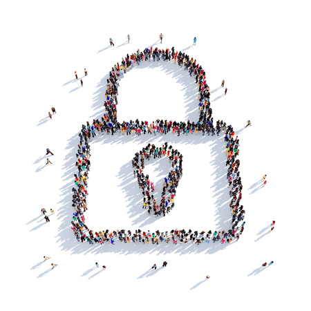 Large and creative group of people gathered together in the shape of a lock . 3D illustration, isolated against a white background. 3D-rendering. Stock Photo