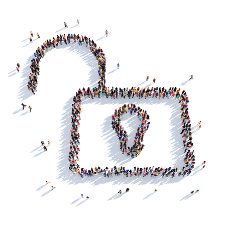 entrance is forbidden: Large and creative group of people gathered together in the shape of a unlock . 3D illustration, isolated against a white background. 3D-rendering.