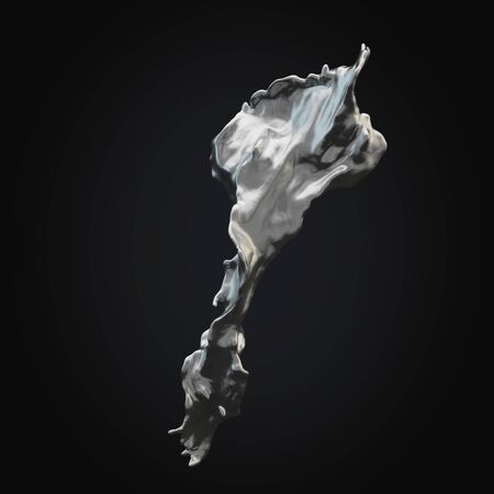 black and silver: Isolated splash of silver on a black rendering black background.3D