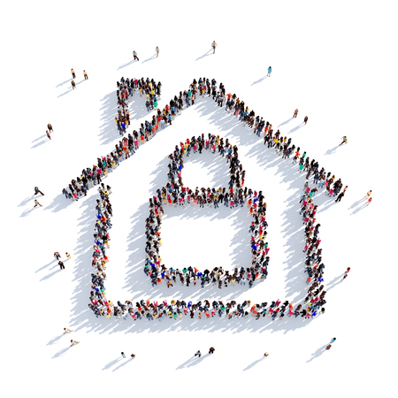 escape key: Large and creative group of people gathered together in the shape of the house, a lock. 3D illustration, isolated against a white background. 3D-rendering. Stock Photo