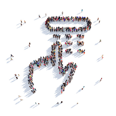 cardreader: Large and creative group of people gathered together in the shape of a set of pincode. 3D illustration, isolated against a white background. 3D-rendering.