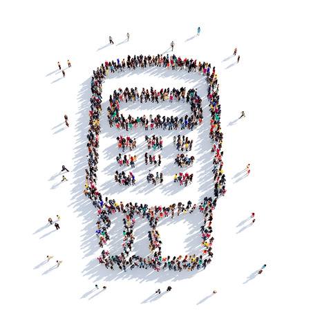 checking account: Large and creative group of people gathered together in the shape of a card terminal. 3D illustration, isolated against a white background. 3D-rendering.