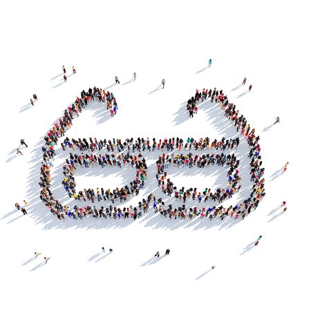 Large and creative group of people gathered together in the shape of 3D glasses. 3D illustration, isolated against a white background. 3D-rendering. Stock Photo