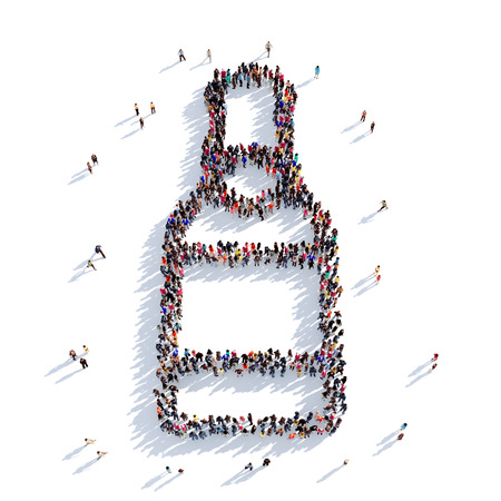 bier: Large and creative group of people gathered together in the shape of a bottle of beer. 3D illustration, isolated against a white background. 3D-rendering.