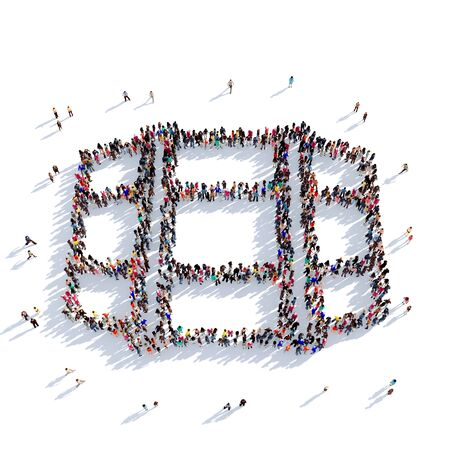 ferment: Large and creative group of people gathered together in the shape of a beer barrel. 3D illustration, isolated against a white background. 3D-rendering.