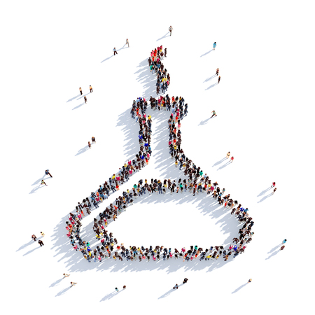 Large and creative group of people gathered together in the shape of a bulb, flask, chemistry. 3D illustration, isolated against a white background. 3D-rendering.