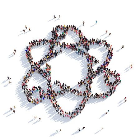 no nuclear: Large and creative group of people gathered together in the shape of the orbit, chemistry. 3D illustration, isolated against a white background. 3D-rendering.
