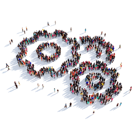 personas reunidas: Large and creative group of people gathered together in the form of a cog , gear. 3D illustration, isolated against a white background. 3D-rendering.
