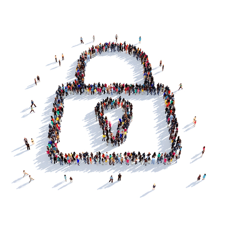 detained: Large and creative group of people gathered together in the shape of a lock . 3D illustration, isolated against a white background. 3D-rendering. Stock Photo