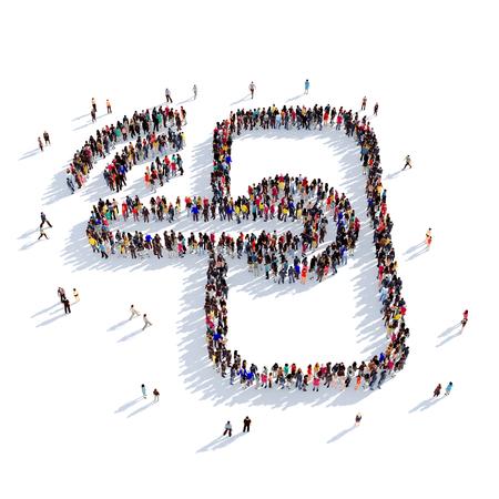 personas reunidas: Grande y creativa grupo de personas se reunieron en la forma de una manija de la puerta, Wi fi. Ilustración 3D, aislado contra un fondo blanco. 3D-prestación. Foto de archivo