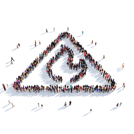 Large and creative group of people gathered together in the shape of a sign of fire. 3D illustration, isolated against a white background. 3D-rendering.