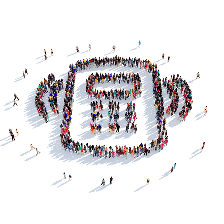 vibrate: Large and creative group of people gathered together in the shape of a smartphone vibrate. 3D illustration, isolated against a white background. 3D-rendering.