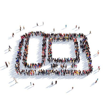 personas reunidas: Grande y creativa grupo de personas se reunieron en la forma de teléfono, llamada de video. Ilustración 3D, aislado contra un fondo blanco. 3D-prestación.