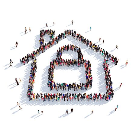 Large and creative group of people gathered together in the shape of the house, a lock. 3D illustration, isolated against a white background. 3D-rendering. Stock Photo