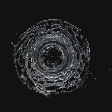 splashing water: Isolated round splashing water on a black background. Radial splashes . 3D-rendering.