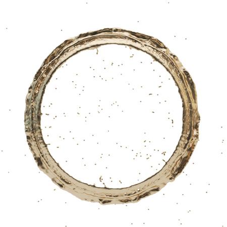 sputter: Isolated golden radial splash on a white background. Rain drop splashes . 3D rendering